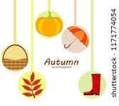 autumn pumpkin umbrella rubber... | Shutterstock .eps vector #1171774054