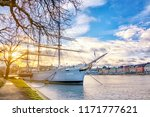 yacht boat with a mast moored...   Shutterstock . vector #1171777621