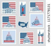 postage stamps set with... | Shutterstock .eps vector #1171778131