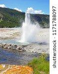 a small geyser near a river at... | Shutterstock . vector #1171788097