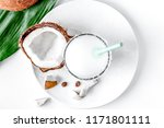 cocktail with coconut on white... | Shutterstock . vector #1171801111