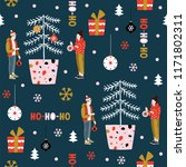 christmas seamless pattern with ... | Shutterstock .eps vector #1171802311