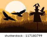 Scarecrow with flying crows in autumn countryside field landscape background illustration vector - stock vector