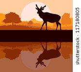 Deer in wild nature forest landscape background illustration vector - stock vector