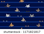 fanny cats on the wide stripped ... | Shutterstock .eps vector #1171821817
