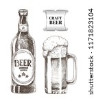 craft beer bottle and glass...   Shutterstock .eps vector #1171823104
