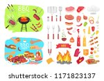 bbq party poster and isolated... | Shutterstock .eps vector #1171823137