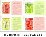 canned tomatoes and zucchini ... | Shutterstock .eps vector #1171823161