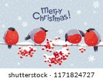 funny bullfinches and rowan... | Shutterstock .eps vector #1171824727