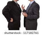 Conflict in office business executive arguing with his boss at meeting - stock photo