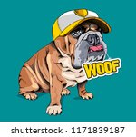 cute puppy bulldog in a yellow... | Shutterstock .eps vector #1171839187