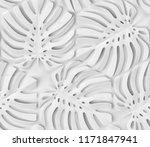 white matte tropical monstera... | Shutterstock . vector #1171847941
