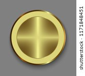 dial knob. realistic gold button