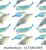 Watercolor Patters  Blue Whales