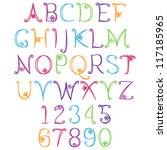 hand drawn alphabet   matching... | Shutterstock .eps vector #117185965
