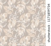 sketched leaves seamless... | Shutterstock . vector #1171859734