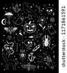 vector halloween icons. hand... | Shutterstock .eps vector #1171861591