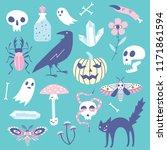 vector halloween icons. hand... | Shutterstock .eps vector #1171861594