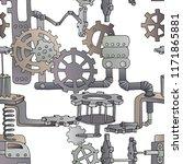 seamless pattern made of steel... | Shutterstock .eps vector #1171865881