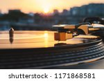 turntable vinyl record player... | Shutterstock . vector #1171868581