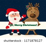 santa claus and deer on...   Shutterstock .eps vector #1171878127