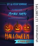halloween party flyer with... | Shutterstock .eps vector #1171887391