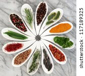 herb and spice selection in... | Shutterstock . vector #117189325