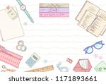 stationery flat lay  books ... | Shutterstock .eps vector #1171893661