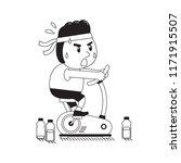 cartoon a fat man riding... | Shutterstock .eps vector #1171915507