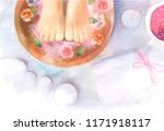 spa  watercolor illustration of ... | Shutterstock . vector #1171918117