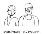couple avatar characters icons | Shutterstock .eps vector #1171922344