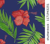 seamless tropical pattern with... | Shutterstock . vector #1171943251