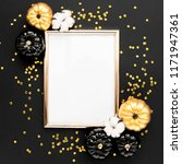 gold frame decorated with black ... | Shutterstock . vector #1171947361