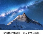 milky way above snowy mountains.... | Shutterstock . vector #1171950331