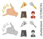 a pizza cutter  a slice  a menu ... | Shutterstock .eps vector #1171981741