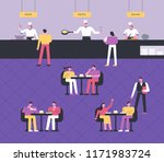 customers are eating at buffet... | Shutterstock .eps vector #1171983724
