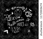 set of halloween hand drawn... | Shutterstock .eps vector #1172003674
