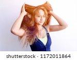 closeup portrait of female...   Shutterstock . vector #1172011864