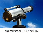 A spyglass is pointed towards the sky. It's a symbol of foresight and forecast. You can look at your targets and clearly see towards the horizons - stock photo