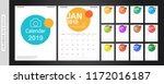 calendar 2019  set desk...   Shutterstock .eps vector #1172016187