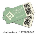 two cinema tickets isolated on... | Shutterstock .eps vector #1172030347