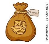 bag full of almond buts ... | Shutterstock .eps vector #1172045071