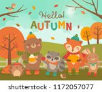 cute woodland animals cartoon... | Shutterstock .eps vector #1172057077