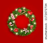 christmas wreath of realistic... | Shutterstock .eps vector #1172072734
