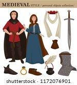 medieval european old retro... | Shutterstock .eps vector #1172076901
