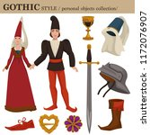gothic medieval 14 century... | Shutterstock .eps vector #1172076907
