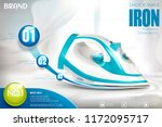 ironing advertisement with blue ... | Shutterstock .eps vector #1172095717