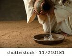 jesus pouring water from a jug  ... | Shutterstock . vector #117210181