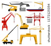flat vector of different cranes.... | Shutterstock .eps vector #1172125354