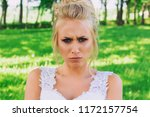 offended and angry bride frowns ... | Shutterstock . vector #1172157754